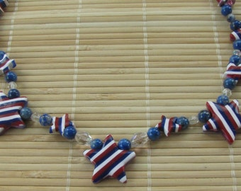 SALE clearance Patriotic Stars and Stripes Statement Necklace - Polymer Clay Jewelry