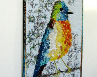 Bird Art Quilt - Fiber art Confetti Quilt - Quilted Wall Hanging - Blue Orange Wall Decor - Robin Wildlife Audubon - Bird Lover Gift