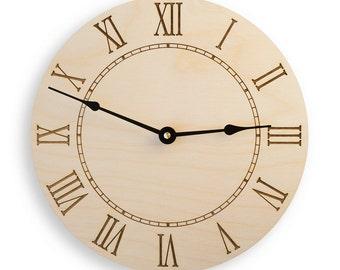 Roman Numeral Large Wall Clock, Rustic Clock, Modern Clock, Large Wooden Clock,  Kitchen  Wall Clock, Wood clock