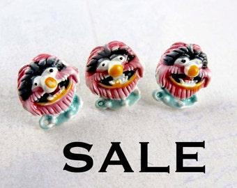 Vintage Enamel Monster Animal Muppet Pin (6X) (E506) SALE - 50% off