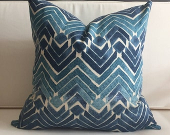 Pillow Cover, Blue Ikat Pillow Cover, SIMONA
