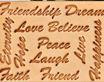 Inspiring Words Leather Stamp Set  -  12 Words + Handle