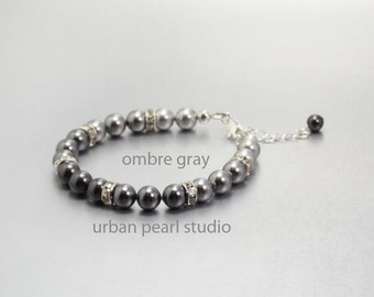 Gray Pearl Bracelet Shades of Grey Swarovski Pearl Ombre Bracelet Bridesmaids Jewelry Gift