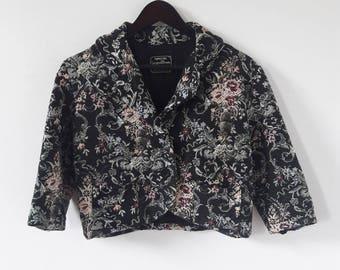 Vintage Cropped Tapestry Jacket