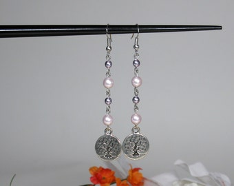 Tree of Life Earrings with Faux Pearls