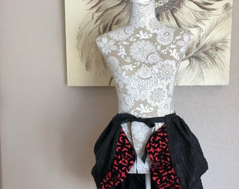 Black and Red Tie On Bustle Skirt