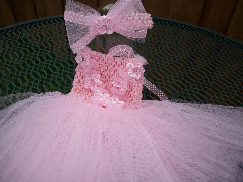 Vestido de tul de recien nacida hasta 12 meses color rosado