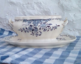 A French antique ironstone sauce or gravy  boat. Sarreguemines 'Moscou' pattern in  blue and white.