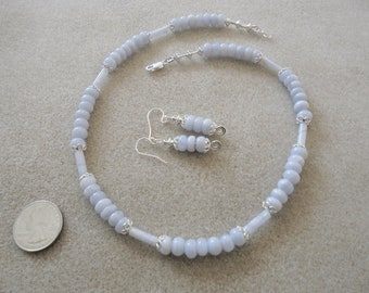 Earrings and Necklace Set - Handmade - Blue Lace Agate, Sterling Silver