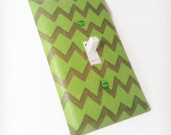 Green Chevron Switchplate, Light Switch Cover, Switch Plate, Outlet Cover, Zig Zag,Baby Nursery Wall Decor, Kids Room, Baby Room, Home Decor