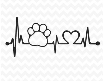 Paw Print heartbeat SVG Cut Files, dog paw print and heart Svg Files and PNG Image, SVG for Silhouette, Cricut Cutting File