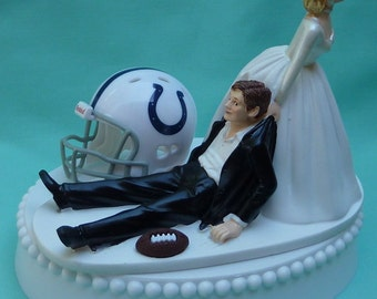 Wedding Cake Topper Indianapolis Colts Indy Football Themed w/ Garter Bride and Groom Sports Team Fans Humor Funny Unique Original Groom's
