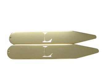 Gold Toned Etched Letter L Monogram Collar Stays