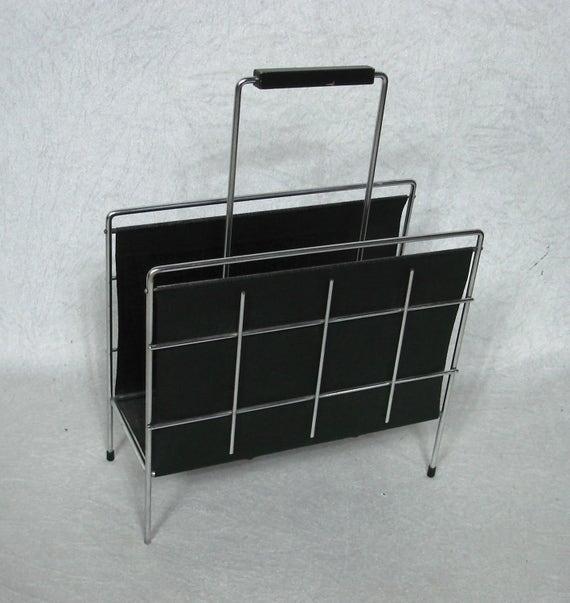 50er 60er chrom string ra zeitungsst nder buch ablage mit. Black Bedroom Furniture Sets. Home Design Ideas