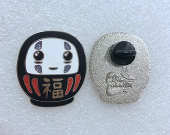 No Face pin, as a Daruma doll - Spirited Away, Miyazaki, Ghibli, kaonashi, pins, cute, kawaii, geek