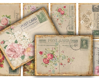 Vintage Rose Postcards Digital Collage Sheet Download - 401 - Digital Paper - Instant Download Printables