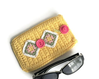 Yellow Soft Eyeglass Case, Cotton Sunglasses Pouch, Yellow Cotton Crochet Glasses Case, One of a Kind Glasses Holder