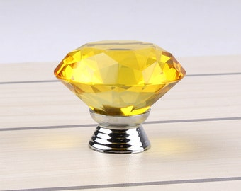 Yellow Crystal Glass Diamond Shape 40mm Drawer, Door, Cabinet or Dresser Knob Pull - C8