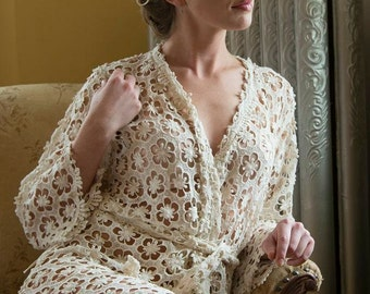 Ivory Bridal Cut-out Floral Lace Robe | Kimono getting ready robe, bridal shower gift dressing gown wedding lingerie Honeymoon Boudoir Shoot