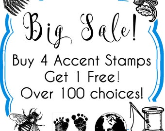 Small Tiny Rubber Stamps //  SALE // Buy 4, 1 Free // Over 90 choices - Handmade by Blossom Stamps