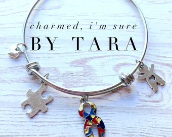 Autism Awareness stainless steel bangle charm bracelet. Boy or girl charm.