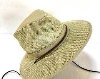 Vintage Men's Henschel Safari Hat / SummerHat / Sun Hat / Mesh Hat / SZ L / Retro / Boaters Hat / Hiking /Boho
