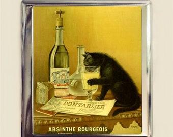 Absinthe Black Cat Cigarette Case Business Card ID Holder Wallet Vintage French Ad Art Nouveau