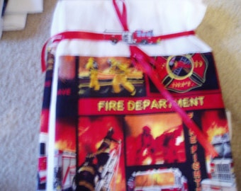 Flour Sack Dish Towel/Fire Department