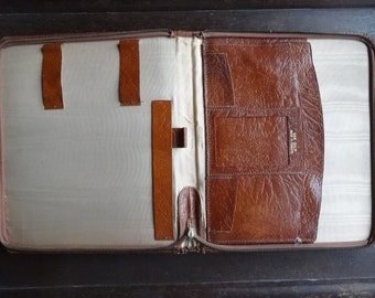 Vintage English Leather Brown Writing Case Folder Attache Carry Case Holdall Carrier circa 1960-70's / English Shop