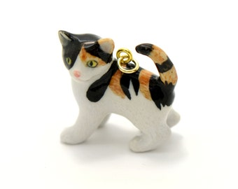 1 - Porcelain Calico Kitten Pendant Hand Painted Glaze Ceramic Animal Ceramic Calico Cat Bead Jewelry Supplies Little Critterz (CA058)