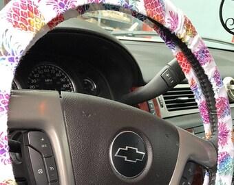 White Tie Dye Pineapple Steering Wheel Cover