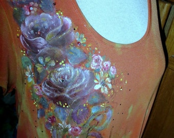Hand painted Slinky Brand Women Rust Tee - Tie Dyed - Side Cascading Bouquet of Various Purple roses, ribbon, rhinestone crystals - daisies