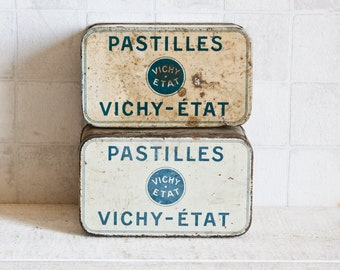 """Set of 2 White and Blue Antique French Tin 