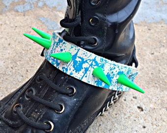 Blue Splatter Spiked Boot Strap