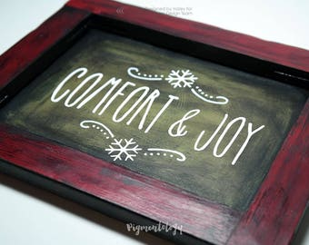 Comfort and Joy - Faux Wood Reverse Canvas Holiday Decor Shadow Box