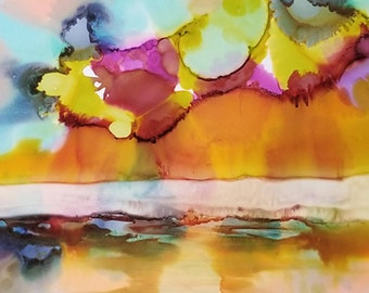 Natural Wonder / Original Alcohol Ink Painting / Original Art / Landscape Painting / Original Art Painting / One of a Kind / Abstract