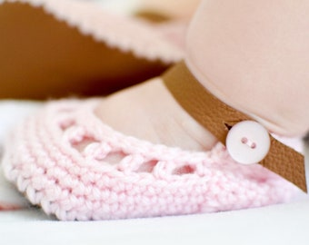 Summer Baby Shoes, Pink Flower Sandals, Brown Leather Newborn Booties, Crochet Blush Mary Janes, Spring Coming Home Outfit for Girl