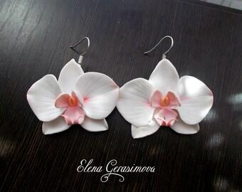 White Orchid earrings flower earrings white jewelry floral earrings summer earrings gift for her handmade Polymer jewelry lovely earrings