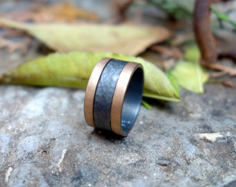Wedding ring Unique wedding ring Unusual wedding ring Wedding band His and hers wedding band Oxidized silver and Gold Promise ring Simple