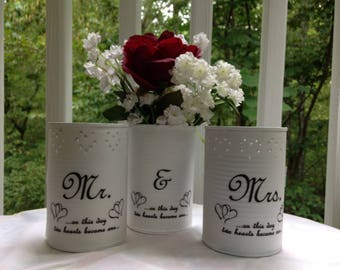 Two Hearts WEDDING RECEPTION CENTERPIECE Two Punched Tin Upcycled Tin Can Luminaries/Candleholders and One Tin Can Vase