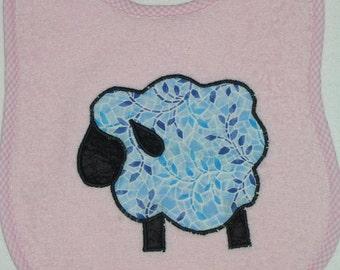 Handmade Baby Bib -Toddler Bib - Black Face Sheep - Applique - Terrycloth Toddler Bib