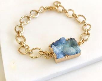 Chunky Druzy Bracelet in Gold. Blue Druzy Bracelet. Raw Crystal Bracelet. Statement Jewelry. Holiday Jewelry. Gift for Her.