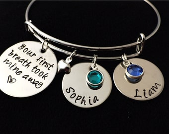 Hand stamped Bangle Bracelet, Charm Bracelet, Adjustable Bangle, Mother Bracelet,  Adjustable Bracelet, Mom Bracelet, Birthstone Bracelet