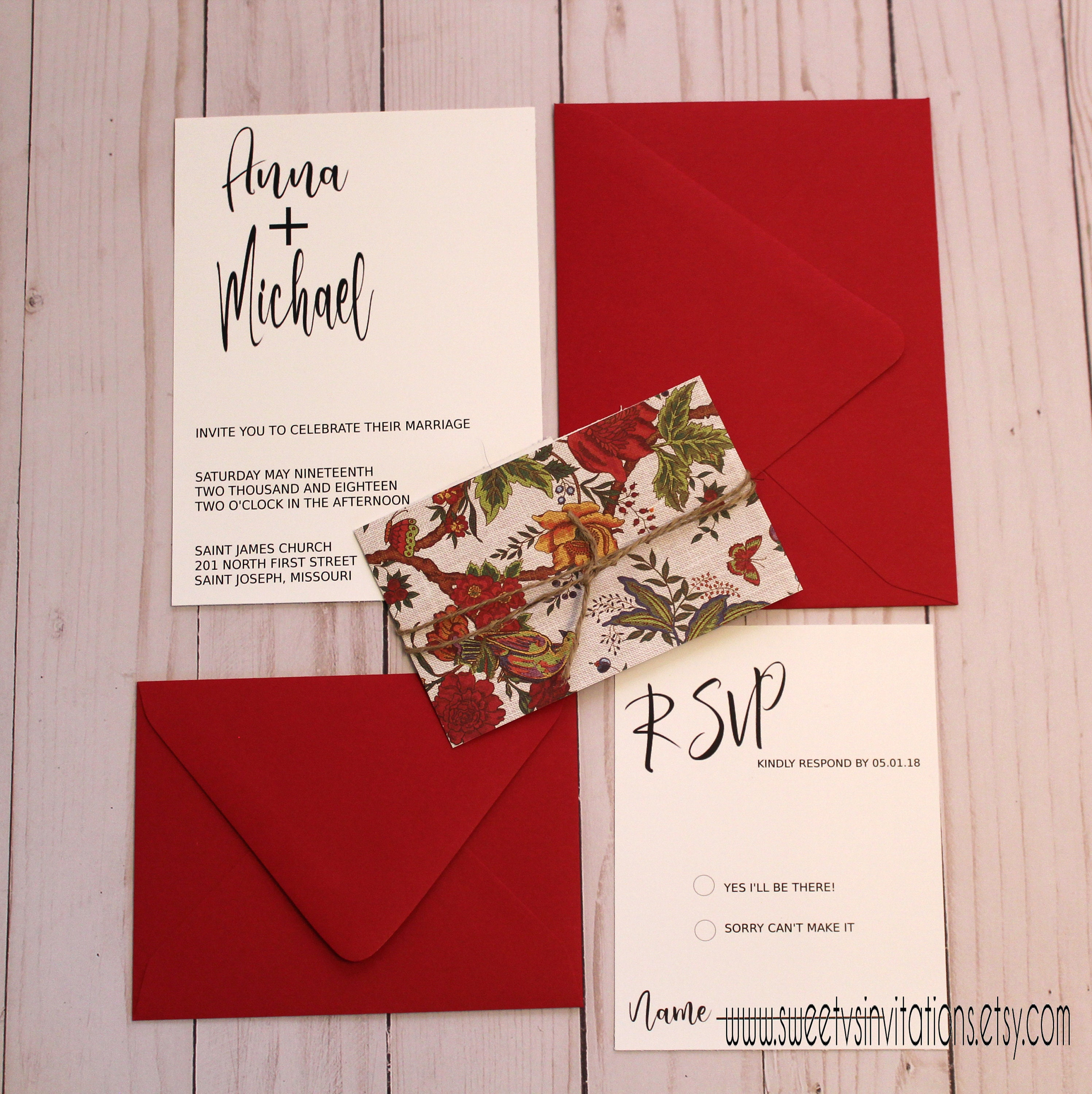 Black and White Wedding Invitation with Red Floral and Twine