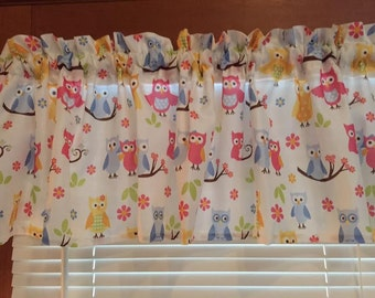 """Whimsical Pastel Owls Window Valance ~ 65"""" wide"""
