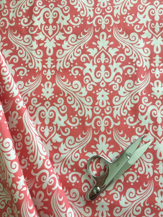 Damask Basics Riley Blake  Coral Pink Hollywood 3/4 yard