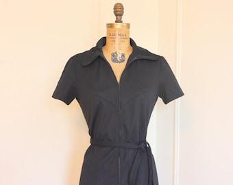 vintage 1960s MOD Black Zip Up Scooter Dress - size medium to large