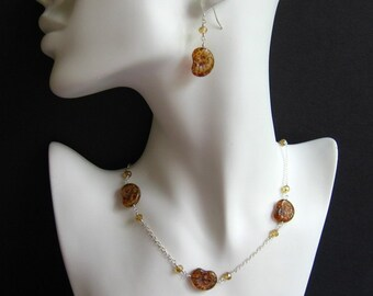 Nautilus shell necklace and earring set - gorgeous glass snail shell beads in amber, brown & opaline on sterling silver chain and ear wires
