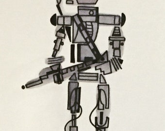 IG-88 -8 x 10 ink and watercolor piece