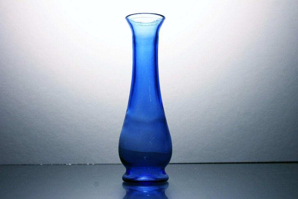 Cobalt Blue Bud Vase Hand Blown Glass 6 Inch Vase Flower Vase
